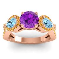 Three Stone Pave Varsa Amethyst Ring with Aquamarine and Citrine in 18K Rose Gold