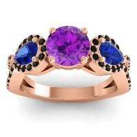 Three Stone Pave Varsa Amethyst Ring with Blue Sapphire and Black Onyx in 18K Rose Gold