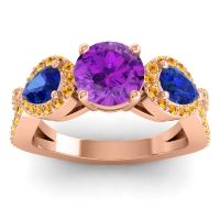 Three Stone Pave Varsa Amethyst Ring with Blue Sapphire and Citrine in 14K Rose Gold