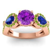 Three Stone Pave Varsa Amethyst Ring with Blue Sapphire and Peridot in 18K Rose Gold