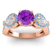 Three Stone Pave Varsa Amethyst Ring with Diamond and Swiss Blue Topaz in 18K Rose Gold