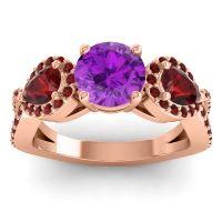 Three Stone Pave Varsa Amethyst Ring with Garnet in 14K Rose Gold