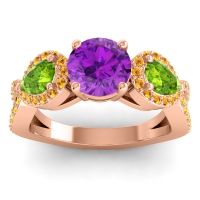 Three Stone Pave Varsa Amethyst Ring with Peridot and Citrine in 14K Rose Gold