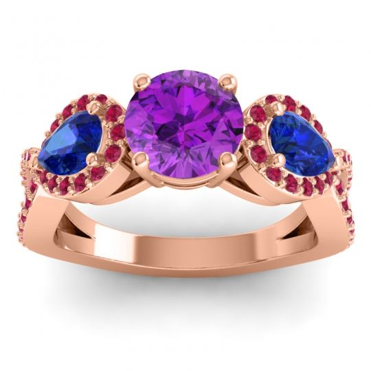 Three Stone Pave Varsa Amethyst Ring with Blue Sapphire and Ruby in 18K Rose Gold
