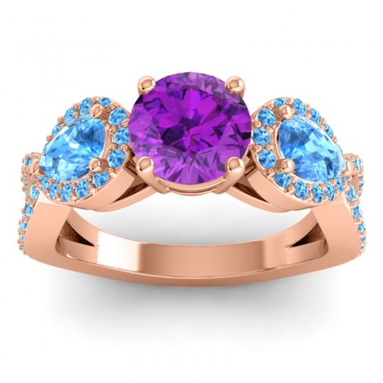Three Stone Pave Varsa Amethyst Ring with Swiss Blue Topaz in 18K Rose Gold