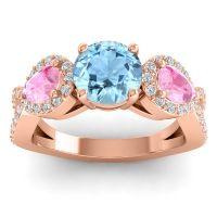 Three Stone Pave Varsa Aquamarine Ring with Pink Tourmaline and Diamond in 18K Rose Gold