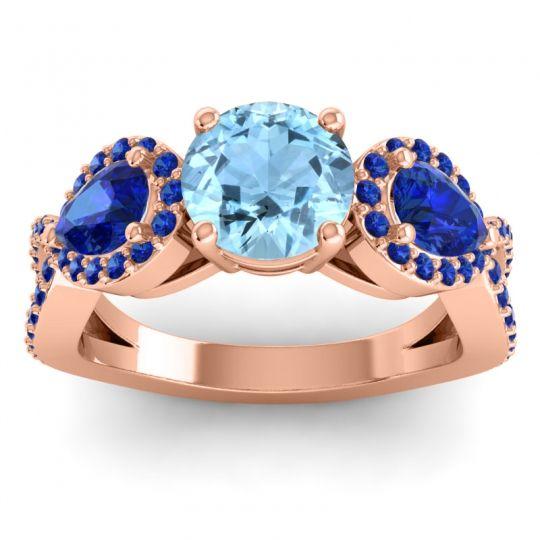 Three Stone Pave Varsa Aquamarine Ring with Blue Sapphire in 18K Rose Gold