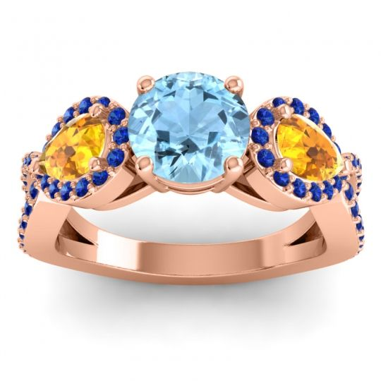 Three Stone Pave Varsa Aquamarine Ring with Citrine and Blue Sapphire in 14K Rose Gold