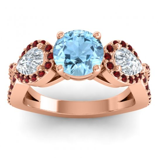 Three Stone Pave Varsa Aquamarine Ring with Diamond and Garnet in 14K Rose Gold