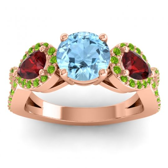 Three Stone Pave Varsa Aquamarine Ring with Garnet and Peridot in 18K Rose Gold