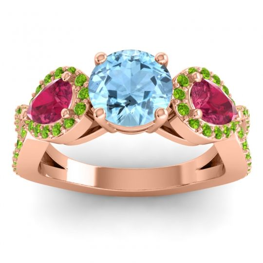 Three Stone Pave Varsa Aquamarine Ring with Ruby and Peridot in 14K Rose Gold