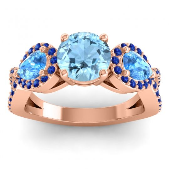 Three Stone Pave Varsa Aquamarine Ring with Swiss Blue Topaz and Blue Sapphire in 14K Rose Gold