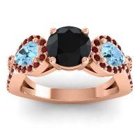 Three Stone Pave Varsa Black Onyx Ring with Aquamarine and Garnet in 18K Rose Gold