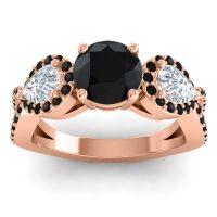 Three Stone Pave Varsa Black Onyx Ring with Diamond in 14K Rose Gold