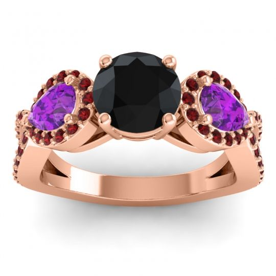 Three Stone Pave Varsa Black Onyx Ring with Amethyst and Garnet in 18K Rose Gold