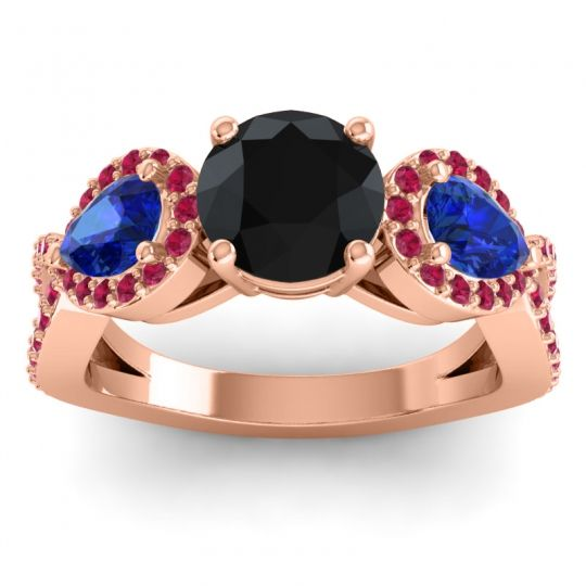 Three Stone Pave Varsa Black Onyx Ring with Blue Sapphire and Ruby in 18K Rose Gold