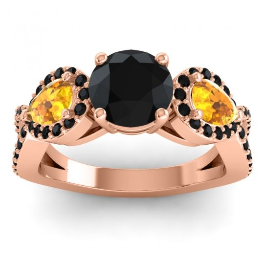Black Onyx Three Stone Pave Varsa Ring with Citrine in 14K Rose Gold