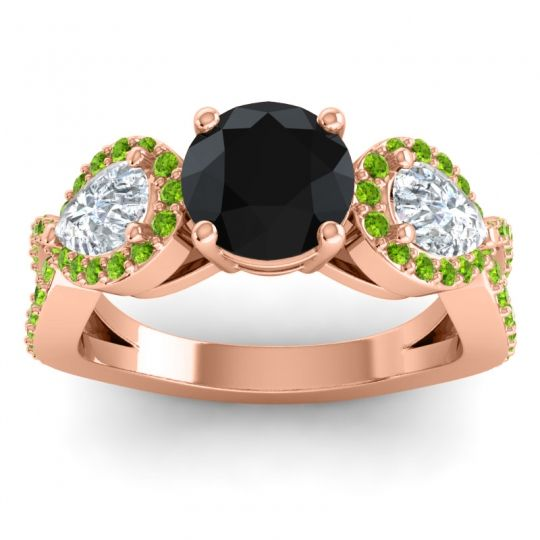 Three Stone Pave Varsa Black Onyx Ring with Diamond and Peridot in 14K Rose Gold