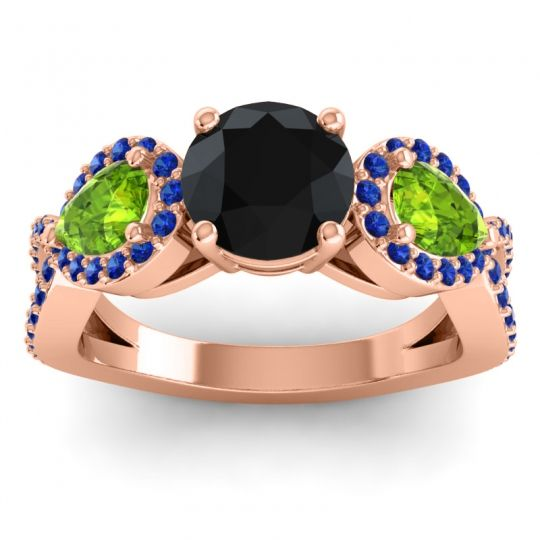 Three Stone Pave Varsa Black Onyx Ring with Peridot and Blue Sapphire in 14K Rose Gold