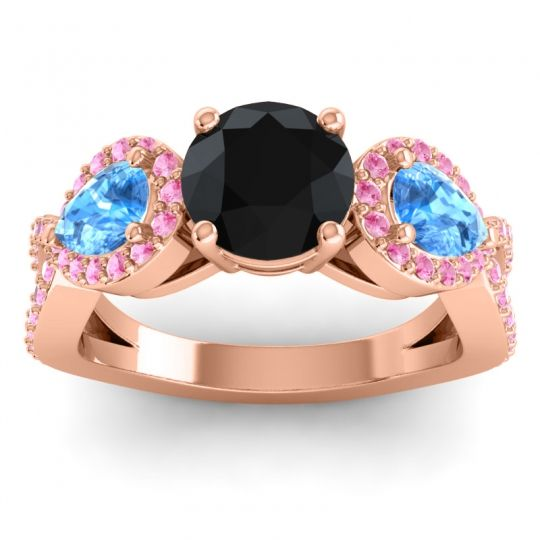 Three Stone Pave Varsa Black Onyx Ring with Swiss Blue Topaz and Pink Tourmaline in 18K Rose Gold