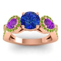 Three Stone Pave Varsa Blue Sapphire Ring with Amethyst and Peridot in 18K Rose Gold