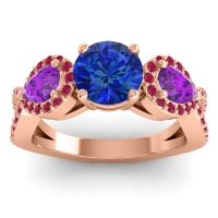 Three Stone Pave Varsa Blue Sapphire Ring with Amethyst and Ruby in 14K Rose Gold