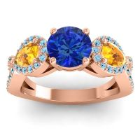 Three Stone Pave Varsa Blue Sapphire Ring with Citrine and Aquamarine in 14K Rose Gold