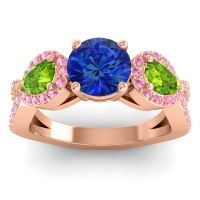 Three Stone Pave Varsa Blue Sapphire Ring with Peridot and Pink Tourmaline in 18K Rose Gold