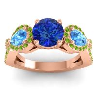 Three Stone Pave Varsa Blue Sapphire Ring with Swiss Blue Topaz and Peridot in 18K Rose Gold