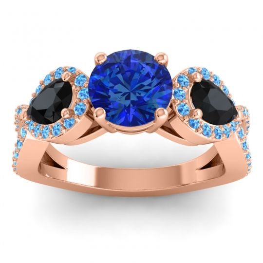 Three Stone Pave Varsa Blue Sapphire Ring with Black Onyx and Swiss Blue Topaz in 18K Rose Gold