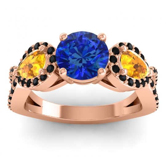 Blue Sapphire Three Stone Pave Varsa Ring with Citrine and Black Onyx in 14K Rose Gold