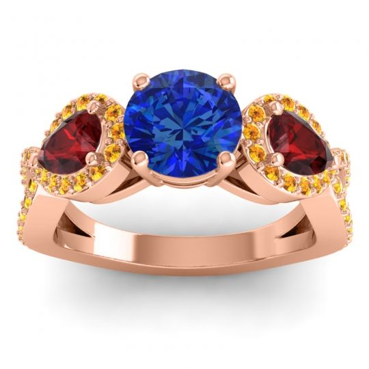 Three Stone Pave Varsa Blue Sapphire Ring with Garnet and Citrine in 18K Rose Gold