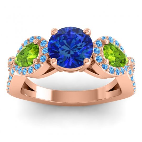 Three Stone Pave Varsa Blue Sapphire Ring with Peridot and Swiss Blue Topaz in 14K Rose Gold