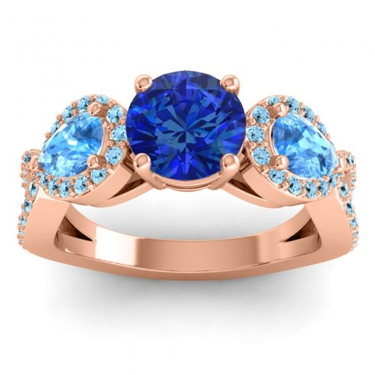 Three Stone Pave Varsa Blue Sapphire Ring with Swiss Blue Topaz and Aquamarine in 14K Rose Gold