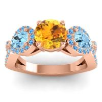 Three Stone Pave Varsa Citrine Ring with Aquamarine and Swiss Blue Topaz in 18K Rose Gold