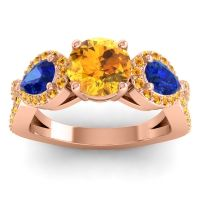 Three Stone Pave Varsa Citrine Ring with Blue Sapphire in 14K Rose Gold