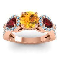 Three Stone Pave Varsa Citrine Ring with Garnet and Aquamarine in 14K Rose Gold