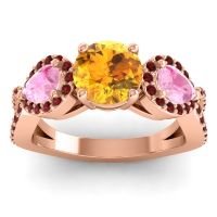 Three Stone Pave Varsa Citrine Ring with Pink Tourmaline and Garnet in 14K Rose Gold