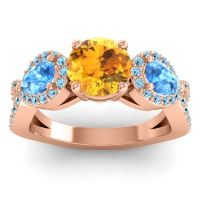 Three Stone Pave Varsa Citrine Ring with Swiss Blue Topaz and Aquamarine in 14K Rose Gold
