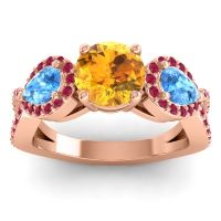 Three Stone Pave Varsa Citrine Ring with Swiss Blue Topaz and Ruby in 14K Rose Gold