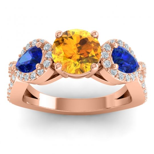 Three Stone Pave Varsa Citrine Ring with Blue Sapphire and Diamond in 18K Rose Gold