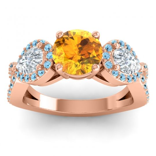 Three Stone Pave Varsa Citrine Ring with Diamond and Aquamarine in 14K Rose Gold