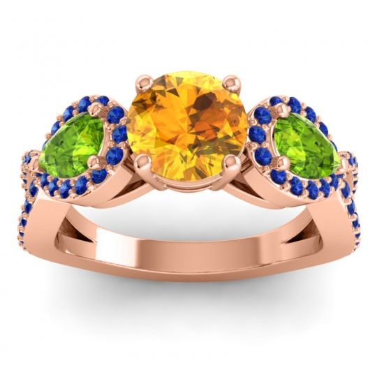 Citrine Three Stone Pave Varsa Ring with Peridot and Blue Sapphire in 14K Rose Gold