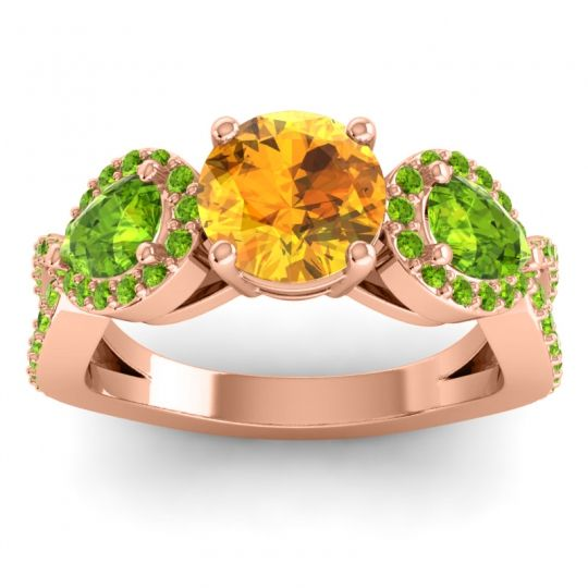 Citrine Three Stone Pave Varsa Ring with Peridot in 18K Rose Gold