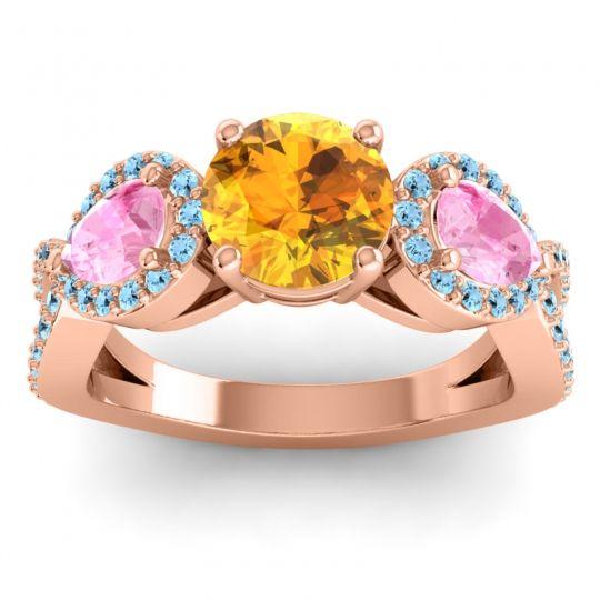 Citrine Three Stone Pave Varsa Ring with Pink Tourmaline and Aquamarine in 18K Rose Gold