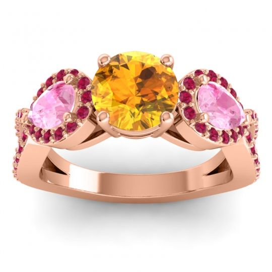 Three Stone Pave Varsa Citrine Ring with Pink Tourmaline and Ruby in 14K Rose Gold
