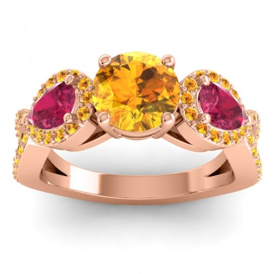 Citrine Three Stone Pave Varsa Ring with Ruby in 18K Rose Gold