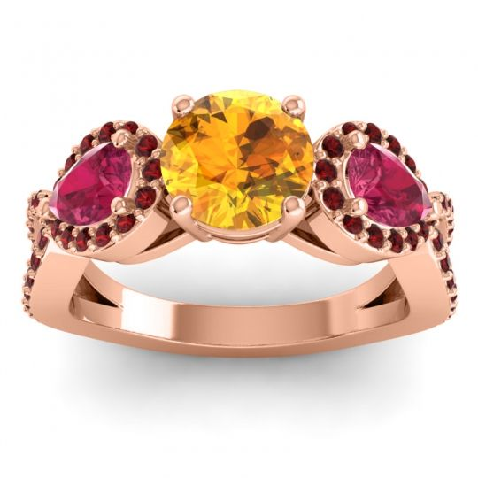 Three Stone Pave Varsa Citrine Ring with Ruby and Garnet in 14K Rose Gold