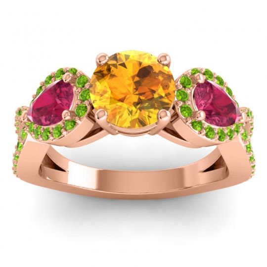 Three Stone Pave Varsa Citrine Ring with Ruby and Peridot in 18K Rose Gold