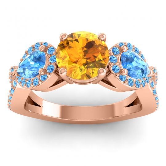 Three Stone Pave Varsa Citrine Ring with Swiss Blue Topaz in 14K Rose Gold